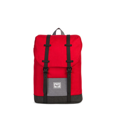 Mochila Herschel Retreat Youth Barbados Cherry Crosshatch/Mid Grey Crosshatch/Black Crosshatch