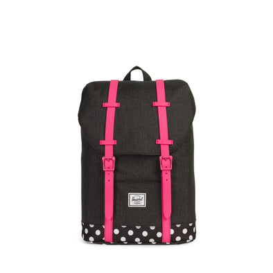 Mochila Herschel Retreat Youth Black Crosshatch/Polka Dot/Fandango Pink