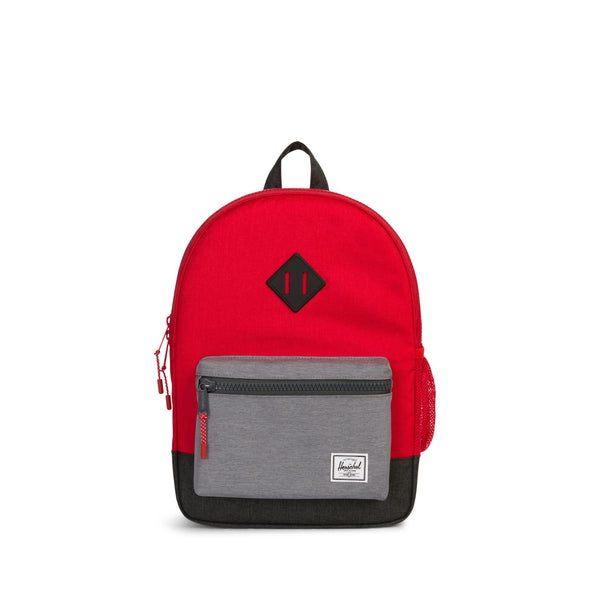 Mochila Herschel Heritage Youth Barbados Cherry Crosshatch/Mid Grey Crosshatch/Black Crosshatch