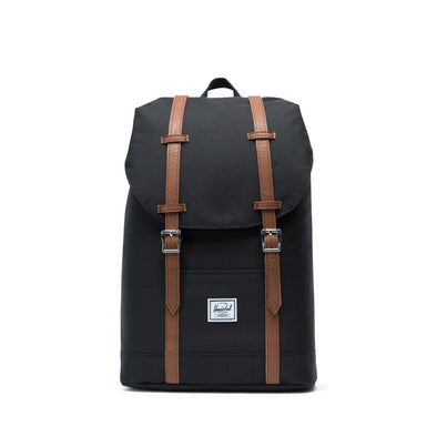 Mochila Herschel Retreat Mid-Volume Black/Tan Synthetic Leather