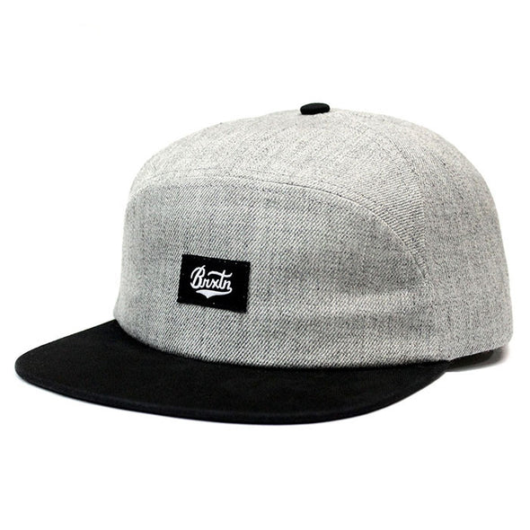 Brixton Bert 7 Panel Cap - Heather Grey/Black