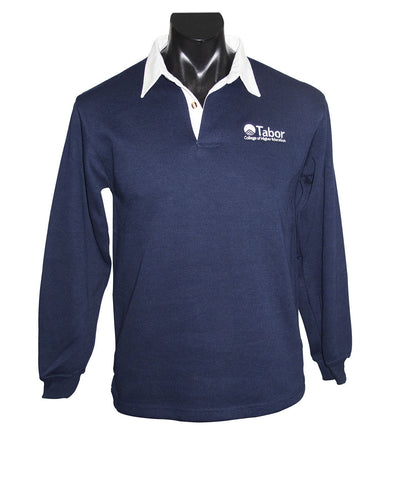 Long Sleeve Rugby Top - Navy with  White collar  and White logo