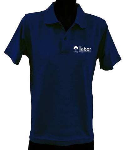 Short Sleeve Polo Top - Navy with White Logo