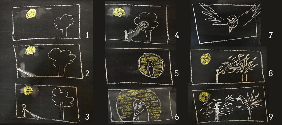 Opening storyboards for the Ghost Stories title sequence