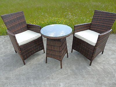 Rattan 2 Two Seater Chairs Dining Wicker Bistro Outdoor Garden