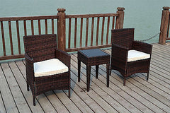 BISTRO 2 SEATER CHAIRS RATTAN WICKER CONSERVATORY OUTDOOR GARDEN FURNITURE SET
