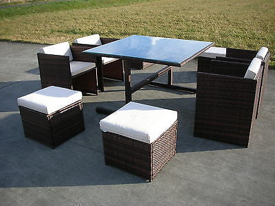 RATTAN WICKER CONSERVATORY OUTDOOR GARDEN FURNITURE PATIO CUBE TABLE ...