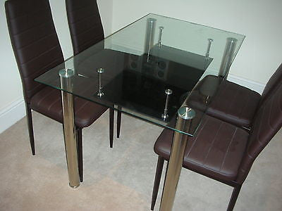NEW GLASS DINING KITCHEN TABLE SET FAUX LEATHER 4/6 CHAIRS FURNITURE ...