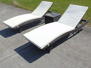 Sun Lounger Bath Seater Rattan Wicker Dining Outdoor Garden