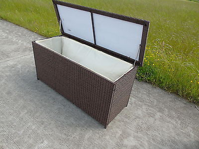 NEW RATTAN PLASTIC GARDEN WICKER STORAGE BOX CUSHIONS WATERPROOF CHEST BROWN