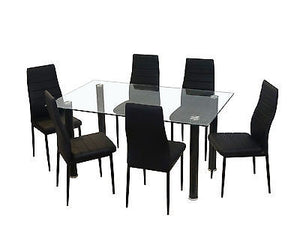 NEW GLASS DINING KITCHEN TABLE SET FAUX LEATHER 4/6 CHAIRS FURNITURE BLACK