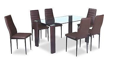 New Glass Dining Kitchen Table Set Faux Leather 4 6 Chairs Furniture