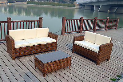 New Rattan Wicker Conservatory Outdoor Garden Furniture Set Uk
