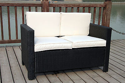 NEW TWIN RATTAN WICKER CONSERVATORY OUTDOOR GARDEN FURNITURE SET