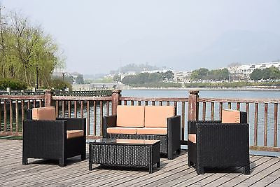 NEW TWIN SOFA SINGLE  RATTAN WICKER CONSERVATORY OUTDOOR GARDEN FURNITURE SET