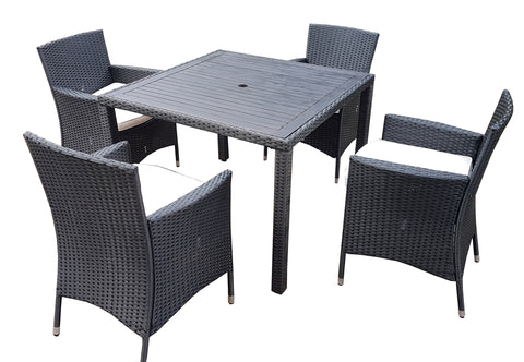 RATTAN WICKER CONSERVATORY OUTDOOR GARDEN FURNITURE PATIO CUBE TABLE CHAIR SET 4