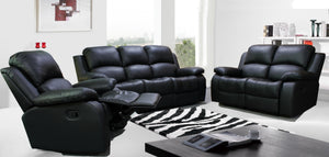 RECLINER BLACK SOFA SUITES SETTEE GRAY FABRIC 3 2 SEATER ARMCHAIR FAUX LEATHER