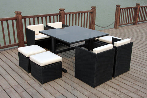 RATTAN WICKER OUTDOOR FURNITURE PATIO CUBE SET WITH STOOLS – uk ...
