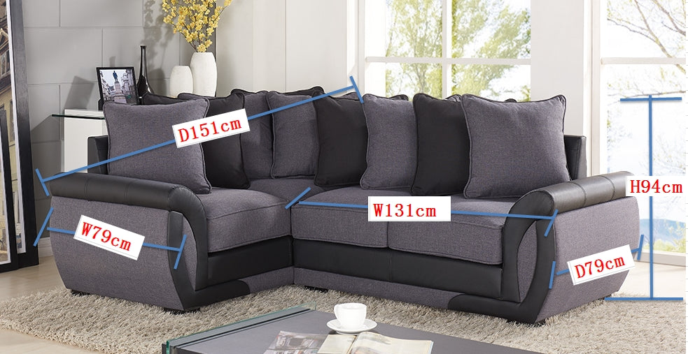 CORNER SOFA SUITES SETTEE GRAY CHARCOAL FABRIC 3 2 SEATER ...
