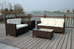RATTAN WICKER OUTDOOR GARDEN SET WITH EXTRA COFFEE TABLE