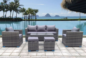 NEW RATTAN GARDEN WICKER OUTDOOR CONSERVATORY CORNER SOFA FURNITURE SET