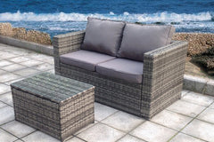 NEW TWIN TABLE RATTAN WICKER CONSERVATORY OUTDOOR GARDEN FURNITURE SET