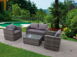 RATTAN WICKER CONSERVATORY OUTDOOR GARDEN FURNITURE GREY SET CORNER SOFA TABLE