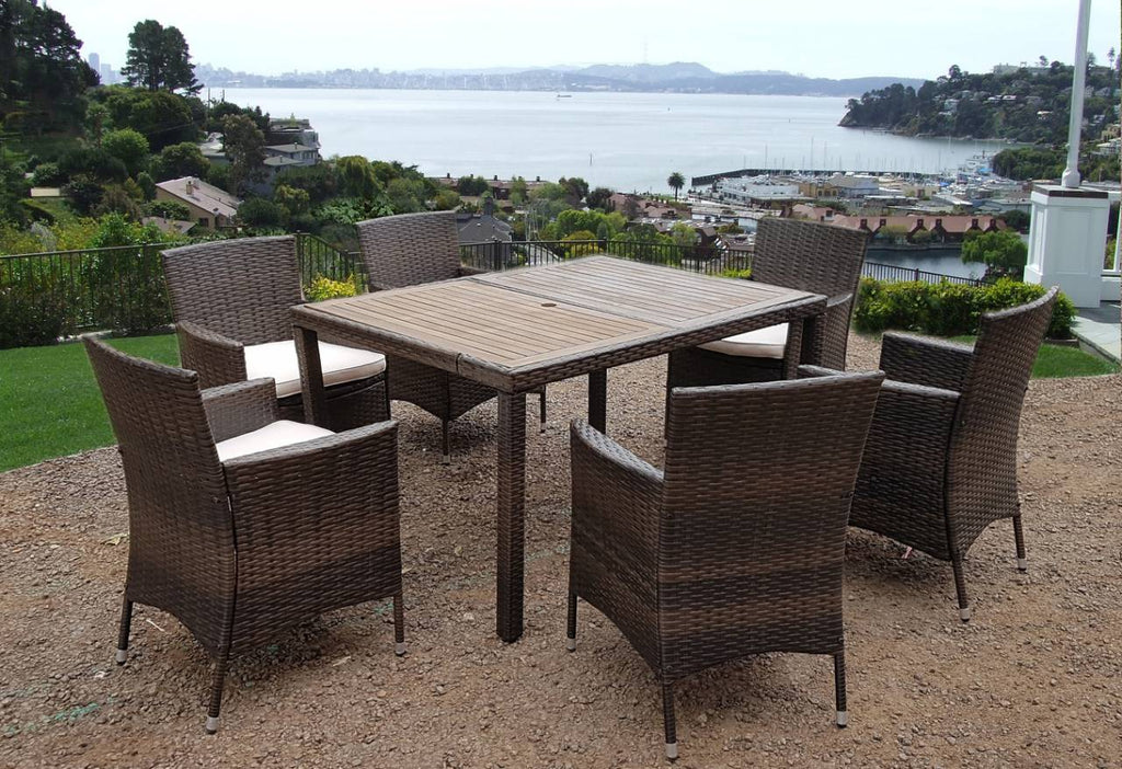 0c7efc50ded1 RATTAN WICKER CONSERVATORY OUTDOOR GARDEN FURNITURE PATIO CUBE TABLE CHAIR  SET 4/6/8