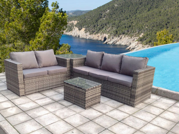 RATTAN WICKER CONSERVATORY OUTDOOR GARDEN FURNITURE SET CORNER SET GREY
