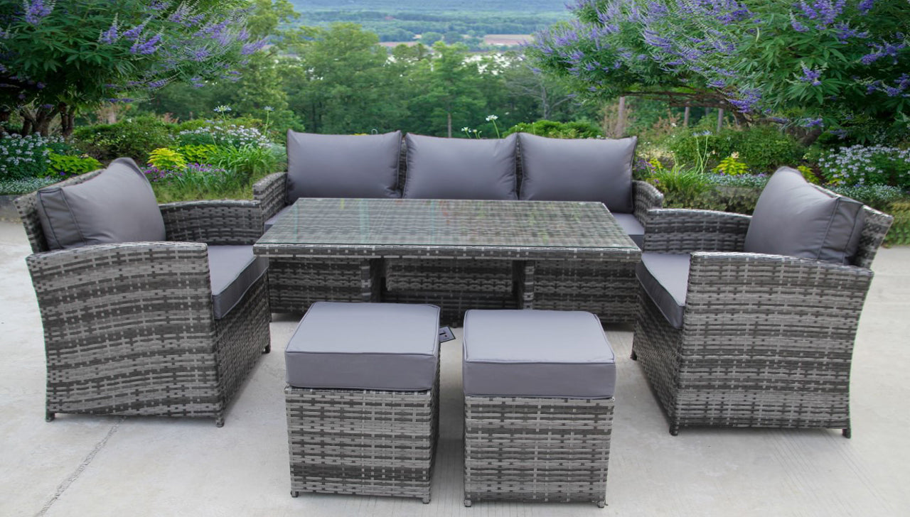 Rattan Wicker Conservatory Outdoor Garden Furniture Dining Set Corner Uk Leisure World