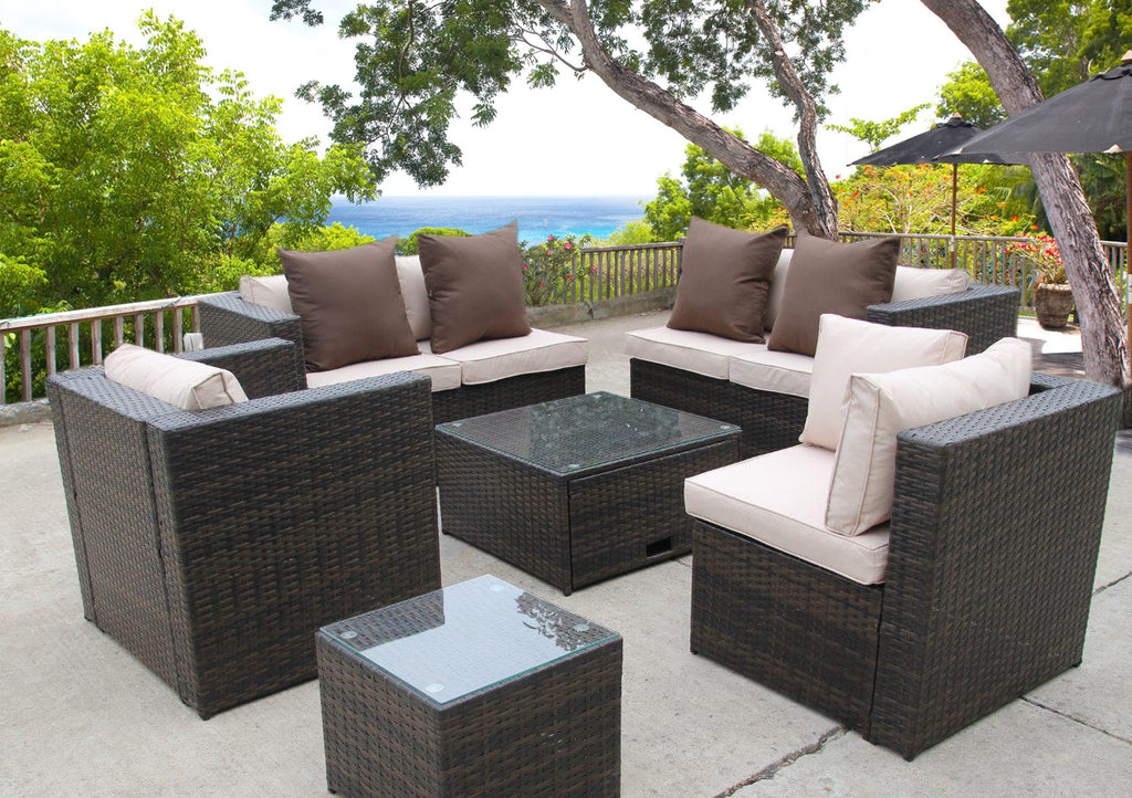 NEW RATTAN WICKER CONSERVATORY OUTDOOR GARDEN FURNITURE SET ...