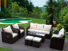 RECLINER RATTAN WICKER CONSERVATORY OUTDOOR GARDEN FURNITURE SET CORNER SOFA