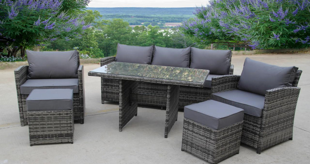 Rattan Wicker Conservatory Outdoor Garden Furniture Dining Set