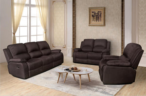 RECLINER LAZYBOY THREE TWO ONE SOFA SUITES SETTEE BROWN FABRIC 3 2 1 SEATER