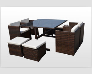 RATTAN WICKER OUTDOOR FURNITURE PATIO CUBE SET WITH STOOLS