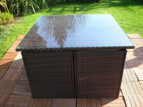 ... RATTAN WICKER OUTDOOR FURNITURE PATIO CUBE SET WITH STOOLS ...