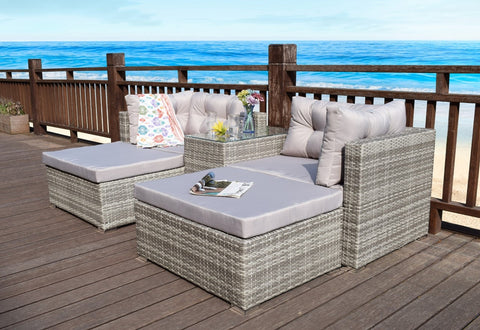 RATTAN GARDEN WICKER OUTDOOR SUN LOUNGER SOFA FURNITURE SET CUBE CORNER DINING