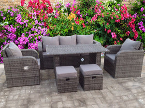 RECLINER RATTAN WICKER CONSERVATORY OUTDOOR GARDEN FURNITURE SET DINING SOFA