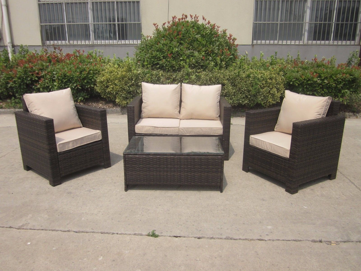 New Rattan Corner Brown Wicker Conservatory Outdoor Garden Furniture