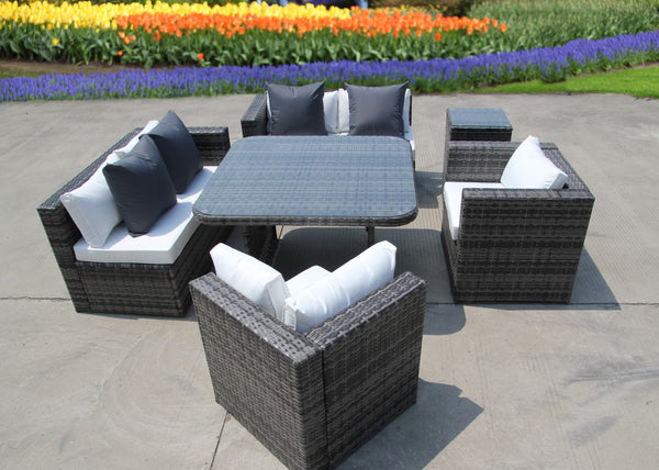 NEW RATTAN WICKER CONSERVATORY OUTDOOR GARDEN FURNITURE SET CORNER DINING GREY SOFA TABLE