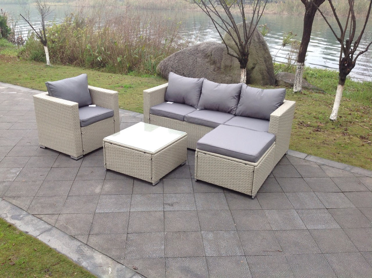Rattan wicker conservatory outdoor garden furniture set corner grey so uk leisure world