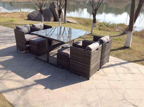RATTAN WICKER GREY GARDEN OUTDOOR CUBE TABLE AND CHAIRS FURNITURE PATIO SEATER SET