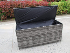 NEW RATTAN PLASTIC GARDEN WICKER STORAGE BOX CUSHIONS WATERPROOF CHEST GREY