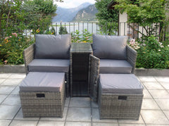 TWIN TABLE STOOLS RATTAN WICKER CONSERVATORY OUTDOOR GARDEN FURNITURE SET Grey