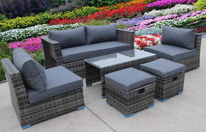 NEW RATTAN WICKER CONSERVATORY OUTDOOR GARDEN FURNITURE SET CUBE SOFA TABLE