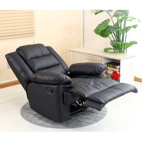 RECLINER BLACK SOFA SUITES SETTEE LAZY BOY 3 2 1 SEATER ARMCHAIR FAUX LEATHER