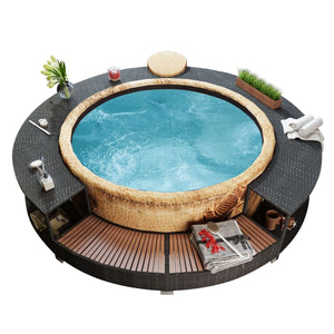 New Black Poly Rattan Spa Surround Hot Tub Chic Modern Tropical Hardwood Outdoor