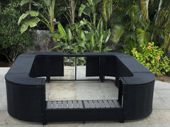 storage mspa spa Rattan Spa Surround Hot Tub lay-z Tropical Hardwood Outdoor