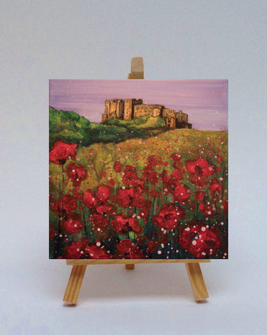 Ceramic tile with easel Bamburgh Castle Poppies