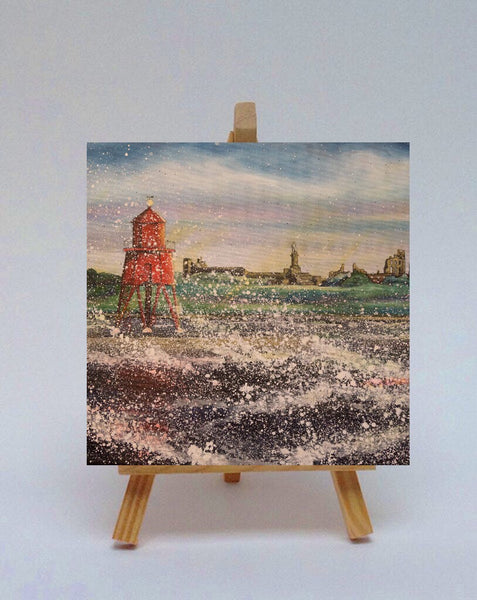 Ceramic tile with easel Groyne Herd South Shields